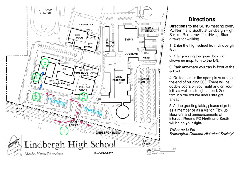 Directions to the SCHS meeting room, PD North and South, at Lindbergh High School.