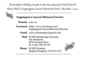 SCHS gift membership card, back panel.