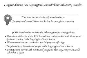 SCHS gift membership card, inside panel.