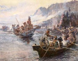 Lewis and Clark expedition on the river.