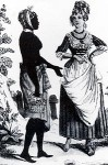 White slave owning woman interacting with black slave woman.
