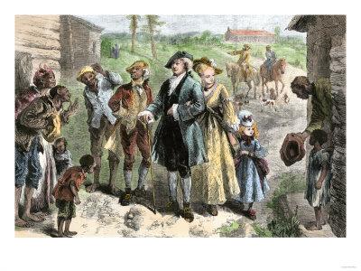 White slave owner family visiting their slave quarters.