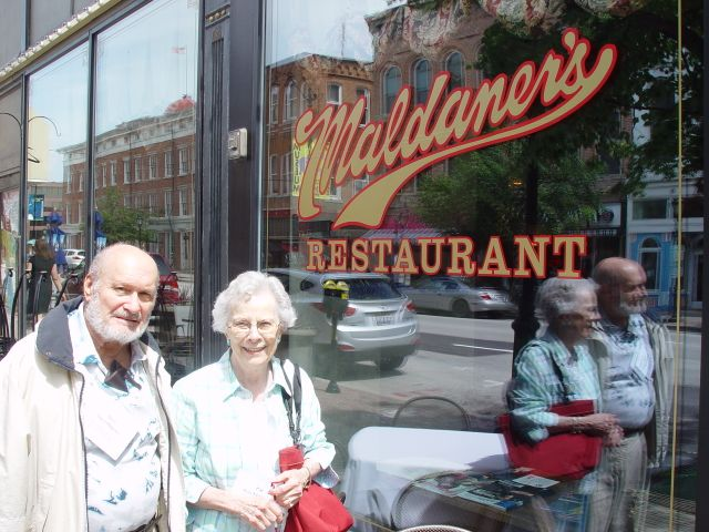 Tour coordinator, Pat Breckenridge, and SCHS member, Don Swortfiguer, outside Maldaner's restaurant. The food and service were excellent!