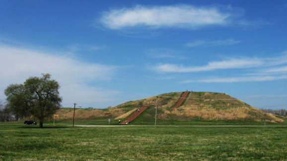 Rising 100 feet above the ground, Monks Mound is the tallest of the 80 or so mounds remaining at the Cahokia Mounds State Historic Site in Illinois. Around 900 years ago, it was a carefully maintained earthen pyramid, supporting a large wooden temple. Véronique LaCapra / St. Louis Public Radio From: http://news.stlpublicradio.org/post/efforts-underway-enhance-national-designation-cahokia-mounds