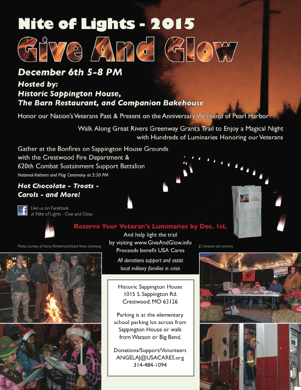 Flier for 3rd Annual Nite of Lights ~ Give and Glow, December 6, 2015, Sunday 5~8 pm