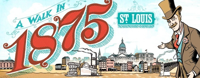 "Logo for Missouri History Museum exhibit, ""A Walk in 1875 St Louis."""