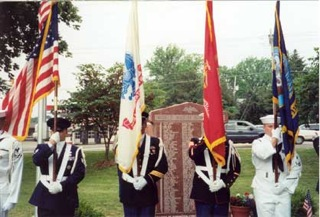 SCHS Annual Memorial Day ceremony, honor guard in front of WWII Honor Roll in Sappington-Concord Memorial Park.