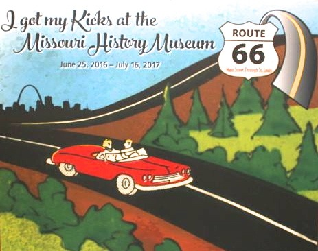Entrance banner for Route 66 exhibit at Missouri History Museum