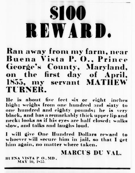 Runaway slave reward ad http://www.wisconsinhistory.org/Content.aspx?dsNav=N:4294963828-4294955414&dsRecordDetails=R:IM3345