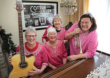 The Queens of Swing are, from left: Mary Ann Schulte, Pat Treacy, Sydell Pollack and Mary Weber. Photo by Diana Linsley of the South County Times.