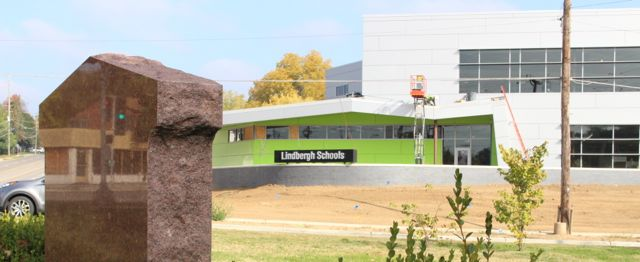 The new administrative offices for Lindbergh Schools are being built on the site of the former Johnny's Market across Denny Road from Memorial Park. WWII Honor Roll memorial shown in left in foreground