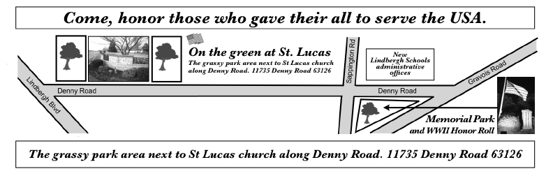 The grassy park area next to St Lucas church along Denny Road. 11735 Denny Road 63126