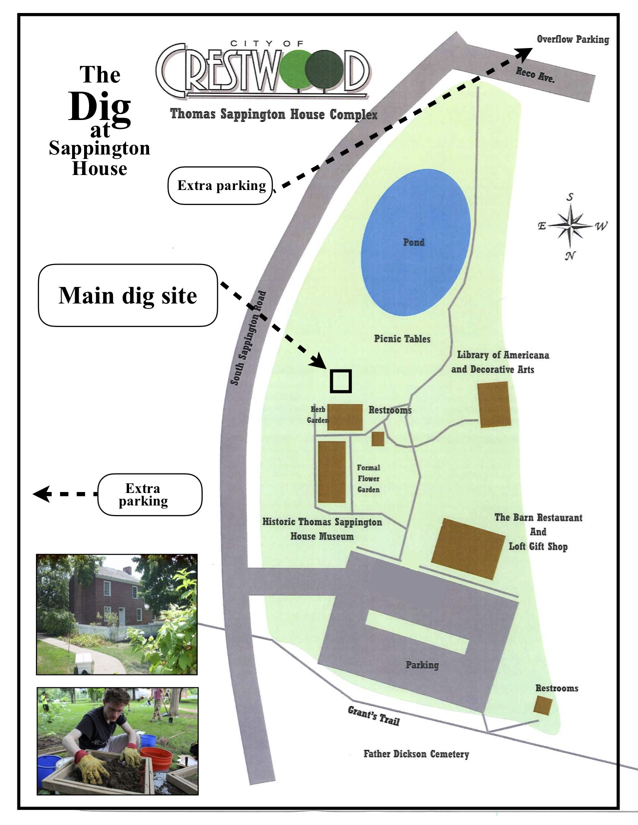 Map of Sappington House campus showing main dig site